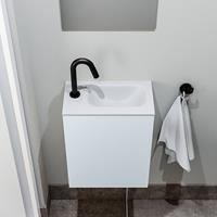 zaro Polly toiletmeubel 40cm clay met witte wastafel met kraangat rechts