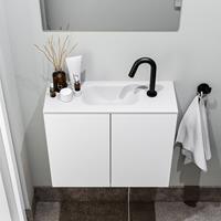zaro Polly toiletmeubel 60cm mat wit met witte wastafel met kraangat