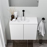 zaro Polly toiletmeubel 60cm mat wit met witte wastafel zonder kraangat