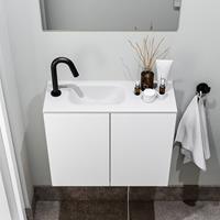 zaro Polly toiletmeubel 60cm mat wit met witte wastafel met kraangat links