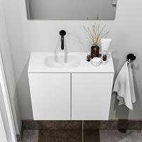 zaro Polly toiletmeubel 60cm mat wit met witte wastafel zonder kraangat links