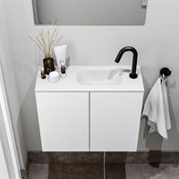 zaro Polly toiletmeubel 60cm mat wit met witte wastafel met kraangat rechts