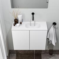 zaro Polly toiletmeubel 60cm mat wit met witte wastafel zonder kraangat rechts