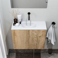 zaro Polly toiletmeubel 60cm eiken met witte wastafel zonder kraangat