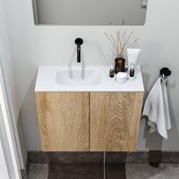 zaro Polly toiletmeubel 60cm eiken met witte wastafel zonder kraangat links