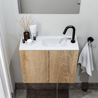 zaro Polly toiletmeubel 60cm eiken met witte wastafel met kraangat rechts