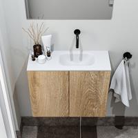 zaro Polly toiletmeubel 60cm eiken met witte wastafel zonder kraangat rechts