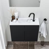 zaro Polly toiletmeubel 60cm mat zwart met witte wastafel met kraangat
