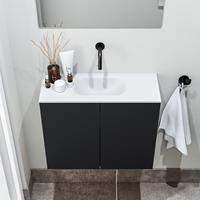 zaro Polly toiletmeubel 60cm mat zwart met witte wastafel zonder kraangat