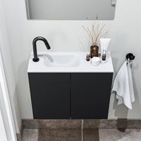 zaro Polly toiletmeubel 60cm mat zwart met witte wastafel met kraangat links