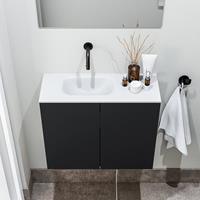 zaro Polly toiletmeubel 60cm mat zwart met witte wastafel zonder kraangat links