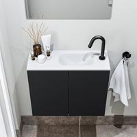 zaro Polly toiletmeubel 60cm mat zwart met witte wastafel met kraangat rechts