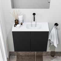 zaro Polly toiletmeubel 60cm mat zwart met witte wastafel zonder kraangat rechts