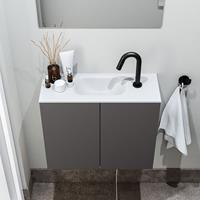 zaro Polly toiletmeubel 60cm donkergrijs met witte wastafel met kraangat