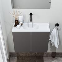 zaro Polly toiletmeubel 60cm donkergrijs met witte wastafel zonder kraangat