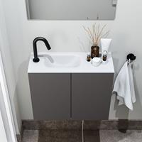 zaro Polly toiletmeubel 60cm donkergrijs met witte wastafel met kraangat links