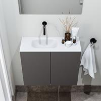 zaro Polly toiletmeubel 60cm donkergrijs met witte wastafel zonder kraangat links