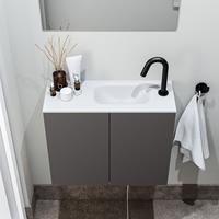 zaro Polly toiletmeubel 60cm donkergrijs met witte wastafel met kraangat rechts