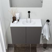 zaro Polly toiletmeubel 60cm donkergrijs met witte wastafel zonder kraangat rechts
