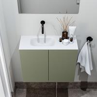 zaro Polly toiletmeubel 60cm army met witte wastafel zonder kraangat links