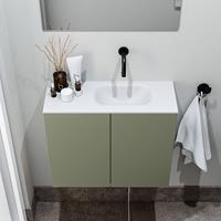 zaro Polly toiletmeubel 60cm army met witte wastafel zonder kraangat rechts