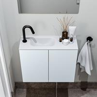 zaro Polly toiletmeubel 60cm clay met witte wastafel met kraangat links