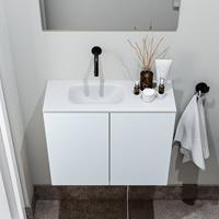 zaro Polly toiletmeubel 60cm clay met witte wastafel zonder kraangat links