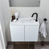 zaro Polly toiletmeubel 60cm clay met witte wastafel met kraangat rechts