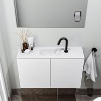 zaro Polly toiletmeubel 80cm mat wit met witte wastafel met kraangat