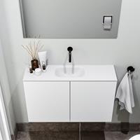 zaro Polly toiletmeubel 80cm mat wit met witte wastafel zonder kraangat