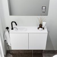 zaro Polly toiletmeubel 80cm mat wit met witte wastafel met kraangat links