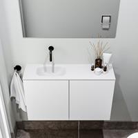 zaro Polly toiletmeubel 80cm mat wit met witte wastafel zonder kraangat links