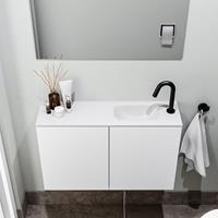 zaro Polly toiletmeubel 80cm mat wit met witte wastafel met kraangat rechts
