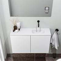zaro Polly toiletmeubel 80cm mat wit met witte wastafel zonder kraangat rechts