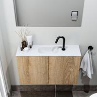 zaro Polly toiletmeubel 80cm eiken met witte wastafel met kraangat