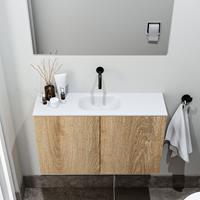 zaro Polly toiletmeubel 80cm eiken met witte wastafel zonder kraangat