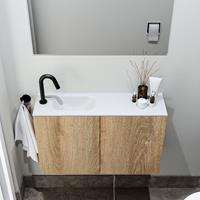 zaro Polly toiletmeubel 80cm eiken met witte wastafel met kraangat links