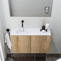 zaro Polly toiletmeubel 80cm eiken met witte wastafel zonder kraangat links