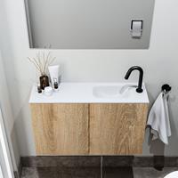 zaro Polly toiletmeubel 80cm eiken met witte wastafel met kraangat rechts