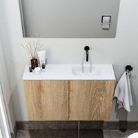 zaro Polly toiletmeubel 80cm eiken met witte wastafel zonder kraangat rechts