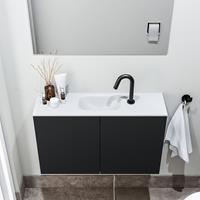 zaro Polly toiletmeubel 80cm mat zwart met witte wastafel met kraangat