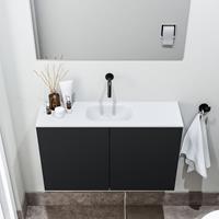 zaro Polly toiletmeubel 80cm mat zwart met witte wastafel zonder kraangat