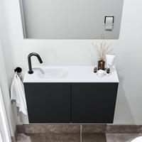 zaro Polly toiletmeubel 80cm mat zwart met witte wastafel met kraangat links