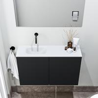 zaro Polly toiletmeubel 80cm mat zwart met witte wastafel zonder kraangat links