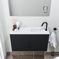 zaro Polly toiletmeubel 80cm mat zwart met witte wastafel met kraangat rechts