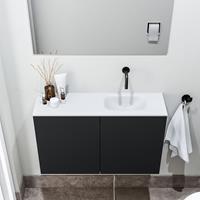 zaro Polly toiletmeubel 80cm mat zwart met witte wastafel zonder kraangat rechts
