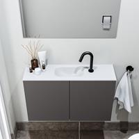 zaro Polly toiletmeubel 80cm donkergrijs met witte wastafel met kraangat