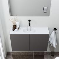 zaro Polly toiletmeubel 80cm donkergrijs met witte wastafel zonder kraangat