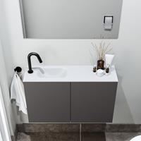 zaro Polly toiletmeubel 80cm donkergrijs met witte wastafel met kraangat links