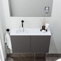 zaro Polly toiletmeubel 80cm donkergrijs met witte wastafel zonder kraangat links